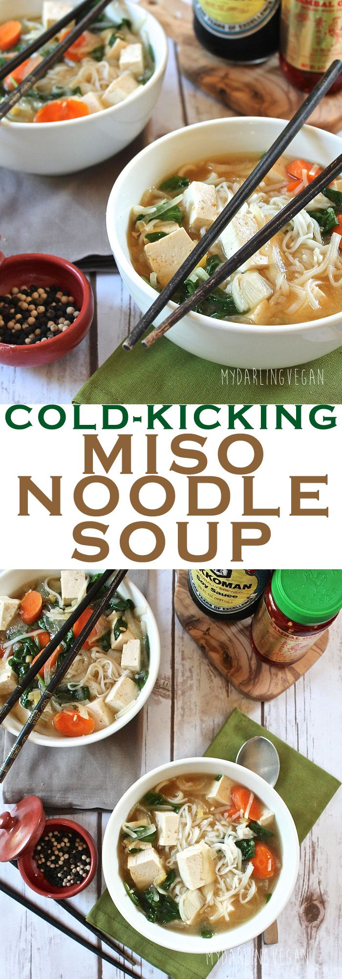 Kick this winter's cold with a warm bowl of hearty Vegan Miso Noodle Soup. Click the photo for this simple recipe!