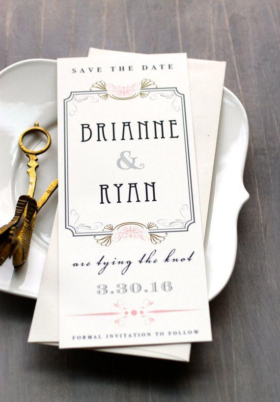 Art Deco Love  Wedding Save the Dates Blush Pink by BeaconLane, $100.00