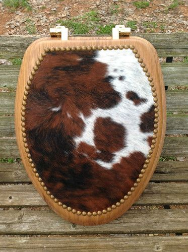 Elongated Toilet Seat w Cowhide Lid Rawhide Western Decor Bathroom | eBay