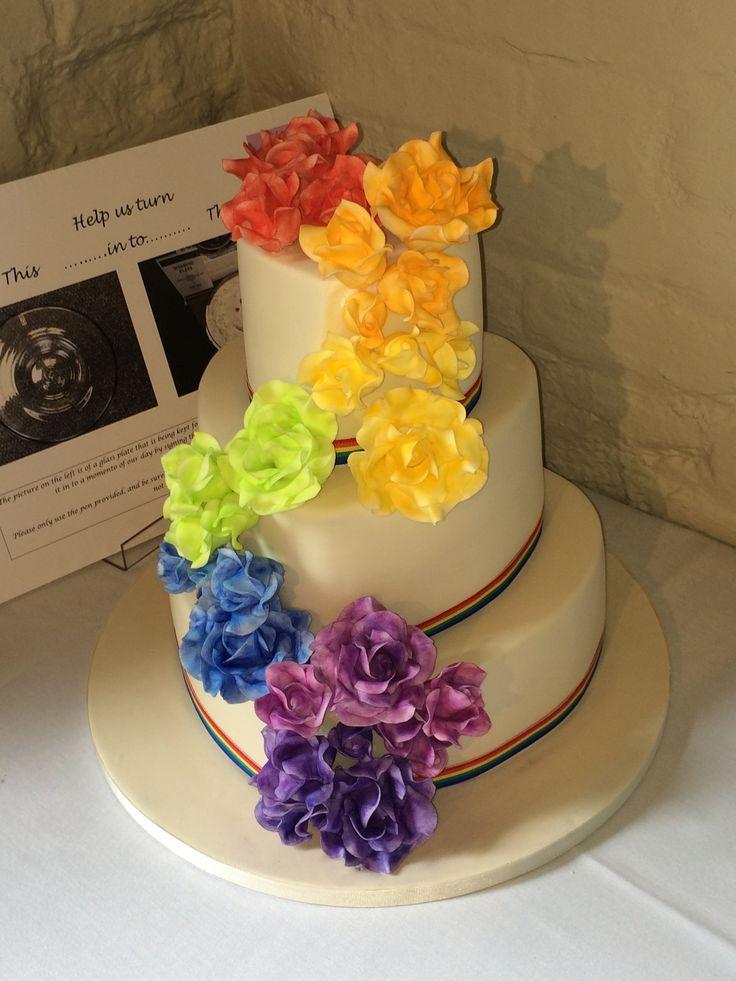 Rainbow roses heart shaped wedding cake