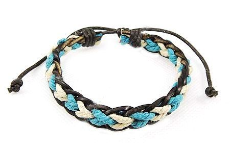 Carat Cache Adjustable Blue and White Braided Leather Bracelet Carat Cache. $6.99