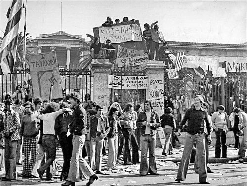 Athens, Greece, November 16th, 1973. Student protesting in front of the gate of the Polytechnic School against the military dictatorship.