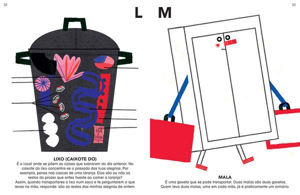 Illustrations by Madalena Matoso in O Dicionário do Menino Andersen, by Gonçalo M. Tavares, Plenata Tangerina, in stock £12.20.