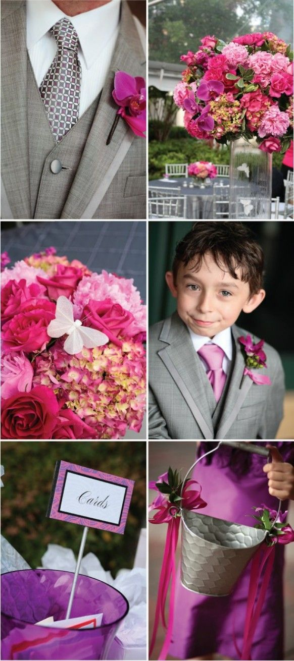Fuchsia Wedding Color Palettes Puple And Gray