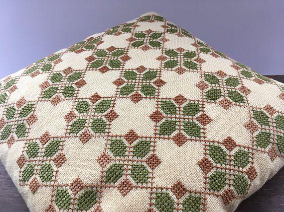 Swedish wool pillow Cross stitch wool pillow Scandinavian Hand embroidered pillow Decorative throw pillow The handembroidered woolen pillow from Sweden. Good condition. Measures:34 x 34cm
