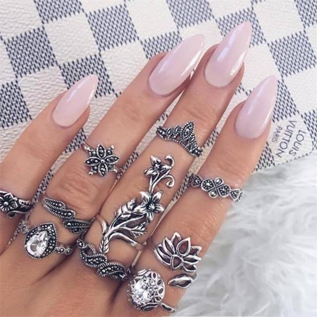 10PCS/Set Antique Silver Knuckle Ring Set
