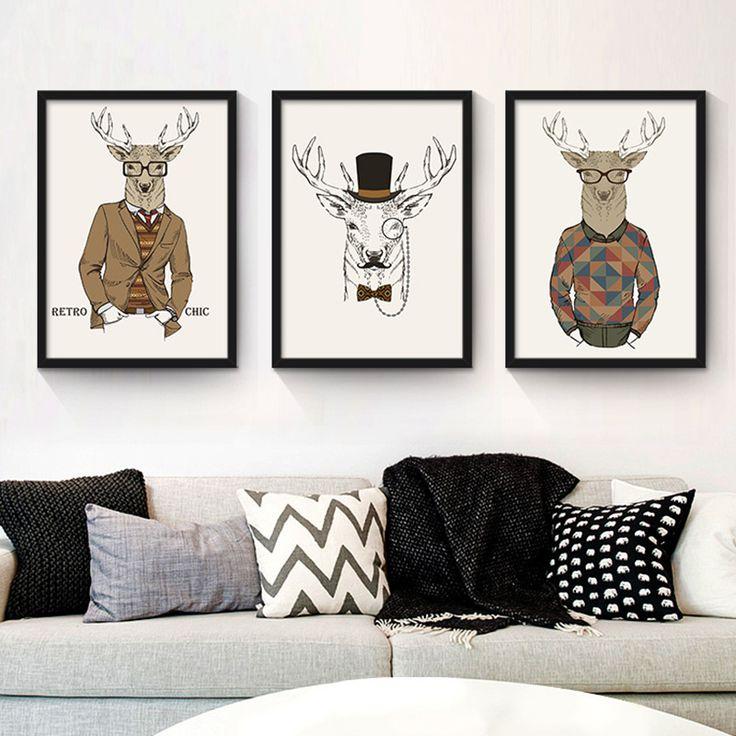 HAOCHU Scandinavian Sculpture Living Room Modern Simple Bedroom Wall Poster Mural Personality Creative Rectangl Painting #Affiliate