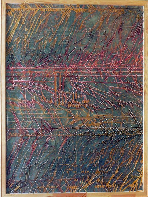 czwarty wymiar - strona B - akryl na czterech warstwach folii, 120/160cm /fourth dimension - side B - acrylic on four layers of foil, 47/63inch http://www.facebook.com/cin3k88/ na sprzedaż/for sale