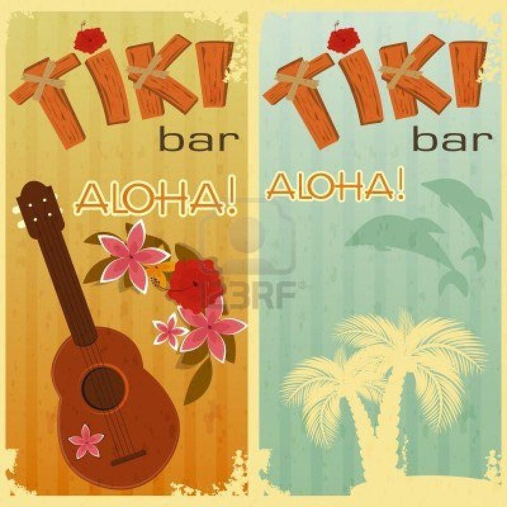 les cartes rétro pour bars Tiki, le parti hawaïen, deux cartes postales dans le style vintage avec dessinés à la main le texte Aloha et Tiki...