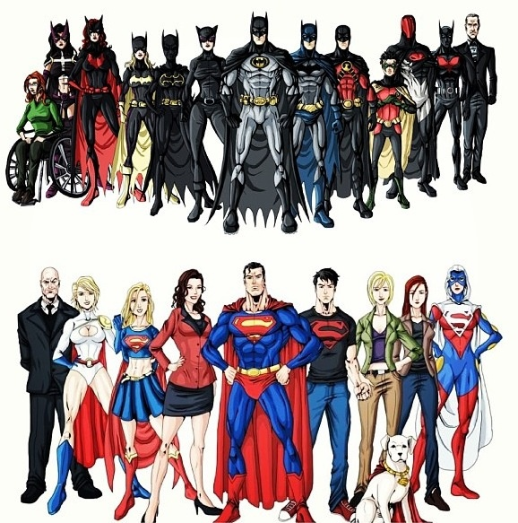 The Bat family and the Super family