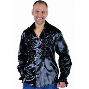 Déguisement chemise rock'n roll noire homme luxe années 60-70