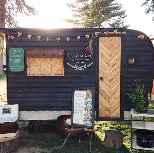update and old camper for a home office, craft room, or hang out space