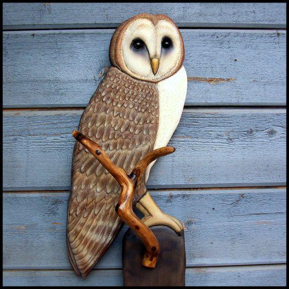 Barn owl wood carving art christmas gift wildlife by