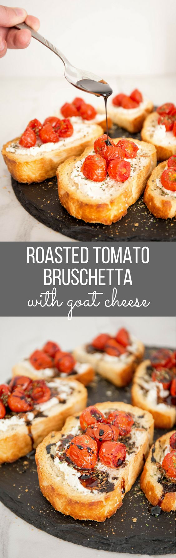 Roasted Tomato Bruschetta - Up your bruschetta game with roasted tomatoes, goat cheese and sweet balsamic reduction. You'll never go back after trying this! | wanderzestblog.com