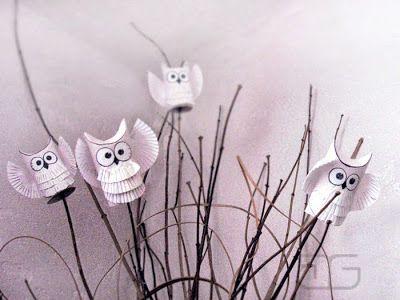 mali artyści: Sowa śnieżna odwiedzi nas zimą - DIY dekoracja