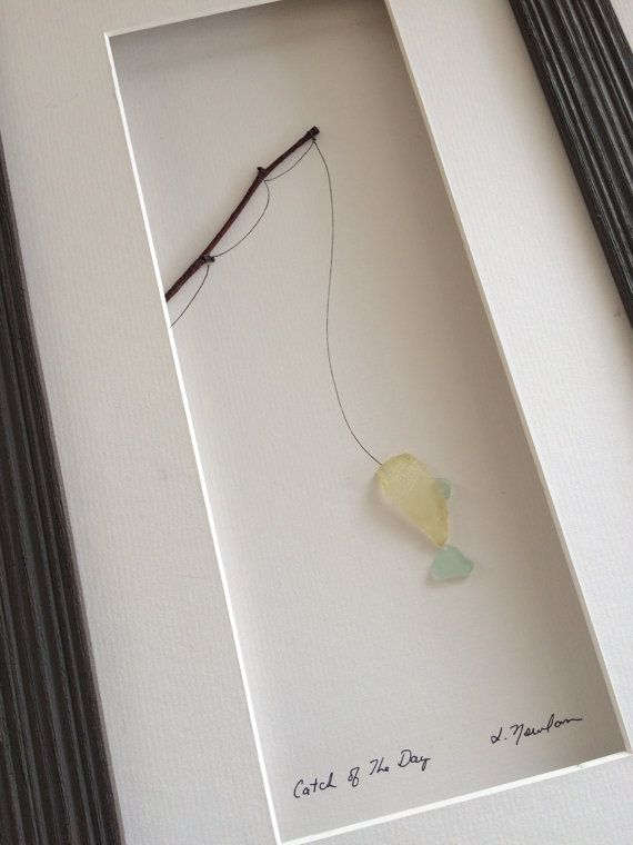 Hey, I found this really awesome Etsy listing at https://www.etsy.com/listing/230955056/8-by-15-sea-glass-fish-on-the-line-by