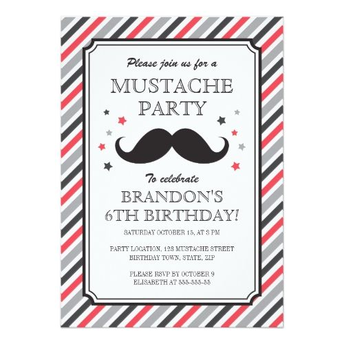 120 best mustache birthday party invitations images on pinterest, Party invitations