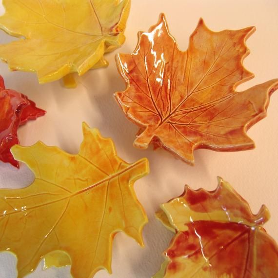 Leaf Dishes - set of 5 leaves Fall Foliage ceramics - Thanksgiving