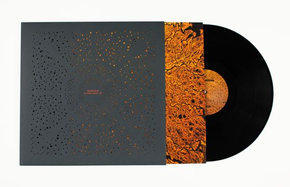 Leif Podhajsky's record sleeve for Bonobo LP Flashlight features an intricate laser cut design