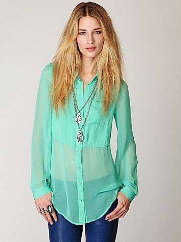 ahhh...I love this top! (freepeople): Shirts, Free People, Buttondown Tunics, Sheer Blouses, Mint Colors, Sheer Buttondown, People Sheer, Mint Julep, Freepeopl