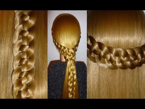Плетение косички из 4 прядей. Причёска для средних и длинных волос - YouTube