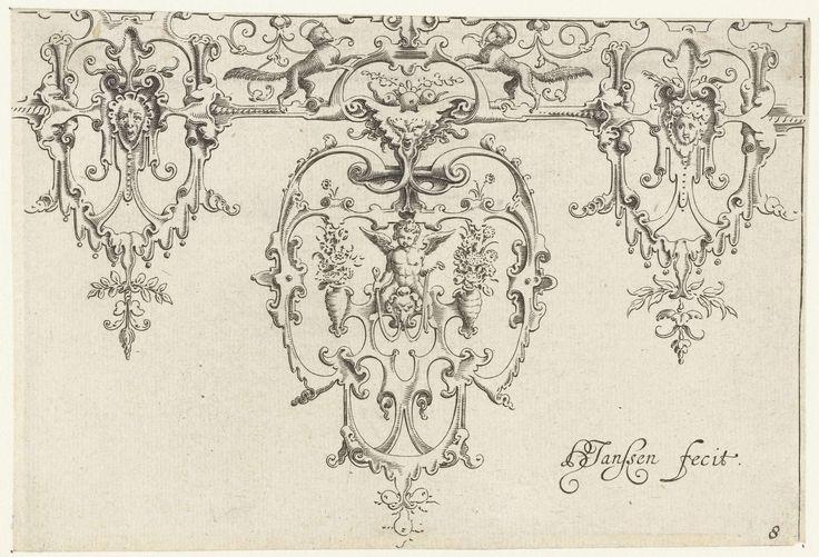 Anonymous | Spits met een engeltje op een monsterhoofd, Anonymous, Claes Jansz. Visscher (II), 1631 | Bovenaan twee vossen. Blad uit serie met decoraties voor zilveren bekers.