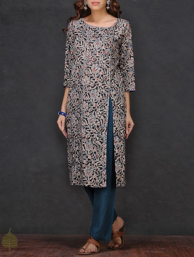 Buy Black Beige Blue Kalamkari printed Cotton Kurta by Jaypore Women Kurtas A Flair for dresses and pants Online at Jaypore.com