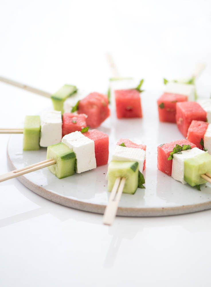 watermelon, feta, cucumber, mint bites drizzled with mint vinaigrette (no recipe)