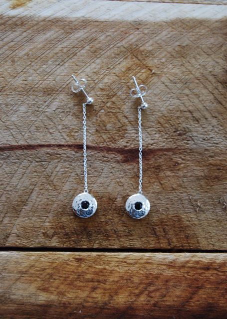 Murkani Hanging Chain Disc Earrings in Sterling Silver in the Grace Collection