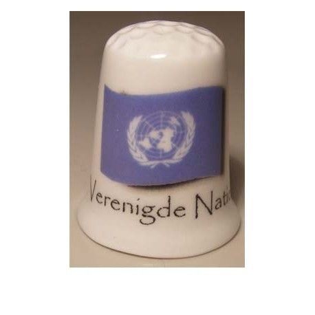 Verenigde Naties op een porselein vingerhoedje - thimble United Nations