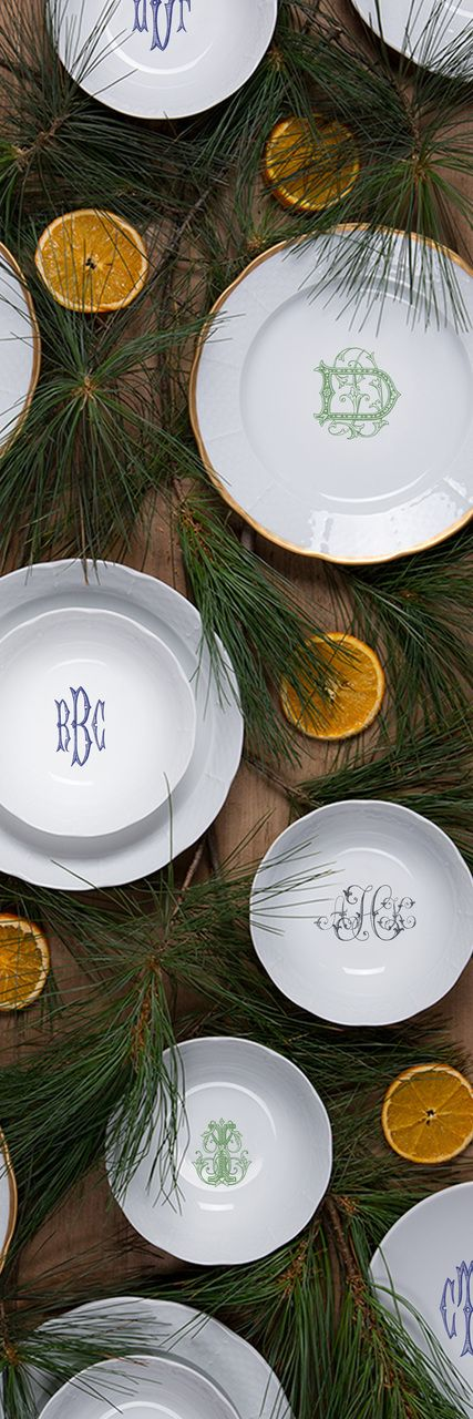 Fabulous custom monogrammed dinnerware from Sasha Nicholas. Classic basketweave European porcelain offered in several monogram and font options-you can also use your own monogram or crest! Sasha Nicholas Monogrammed Dinnerware.