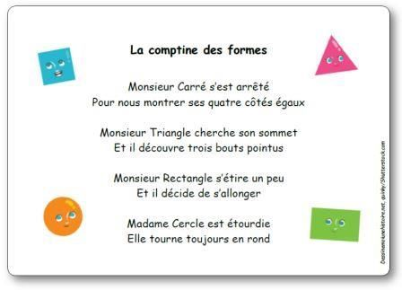 Paroles de La comptine des formes : Monsieur Carré s'est arrêté Pour nous montrer ses quatre côtés égaux. Monsieur Triangle cherche son sommet