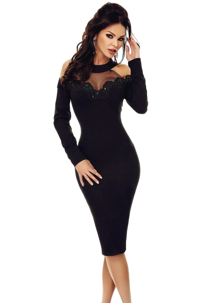 f31ee399c86f Black Crochet Applique Mesh Insert Cold Shoulder Dress | KaleaBoutique.com  Dresses | Pinterest | Dresses, Cold shoulder dress and Dress outfits