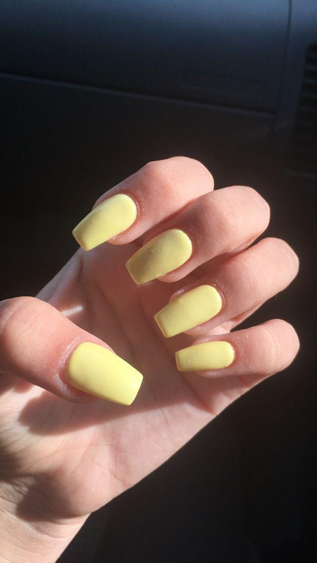 Light Yellow Nails Yellow Nails Yellow Nail Art Square Acrylic Nails