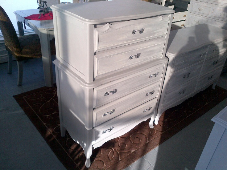 FRENCH PROVINCIAL TALL BOY ANNIE SLOAN CHALK PAINT WITH WHITE STRAIE