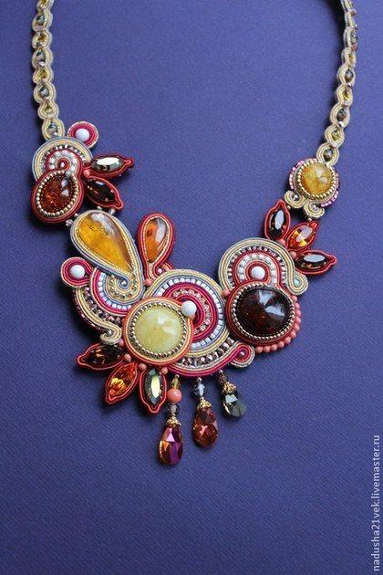 """Колье """" Листопад"""" - сутаж,сутажные украшения,сутажная вышивка,янтарь натуральный"""