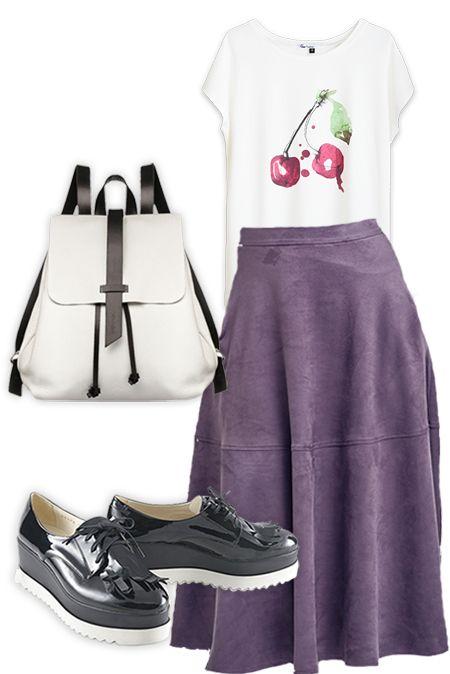 Образ с фиолетовой юбкой и белой футболкой  купить за 1471 грн. в интернет-магазин Stilecity  ✔ Лучшие цены ☆ Создайте свой собственный образ ♡