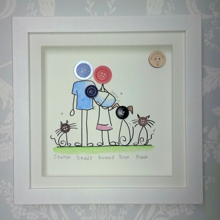 Hand Drawn Personalised Button Family wwwmoosiebagscouk 11