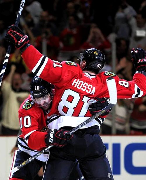 Patrick Sharp and Marian Hossa, Chicago Blackhawks