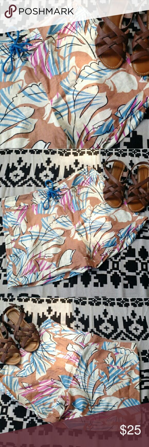 """J. Crew Linen Cotton Blend Floral Shorts Pre-owned, but in excellent condition. J. Crew Desert Oasis shorts have a 5"""" inseam. No flaws. Light fun short perfect for days in paradise.   Offers are always welcome!  E&T J. Crew Shorts"""