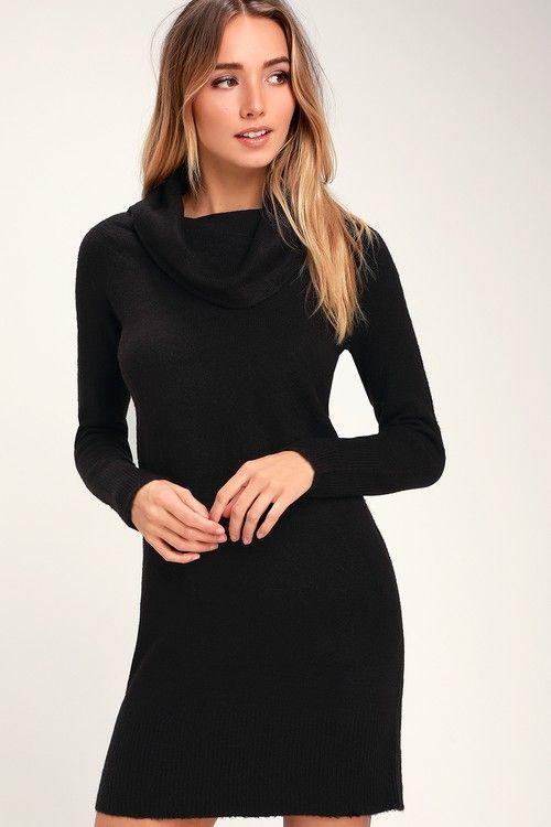 8e241dd3668 Brandis Black Cowl Neck Sweater Dress