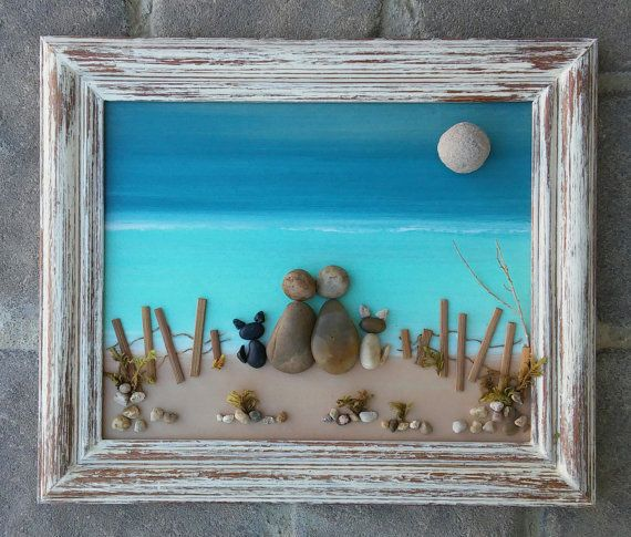 """Pebble Art Couple (or ANY two people with their two CATS) on the Beach set in an """"open"""" 8x10 wood frame"""