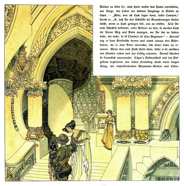 Part II of 'Die Bücher der Chronika der drei Schwestern / The Book of Chronicles of the Three Sisters' by Johann Karl August Musäus; illustrated by Heinrich Lefler and Joseph Urban. Published 1900 by Verlag von J.A. Stargardt, Berlin.