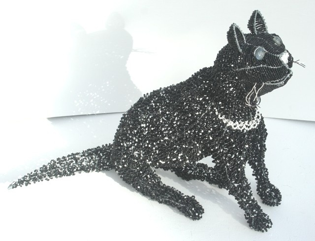 Beaded sculptured Cat from Africa