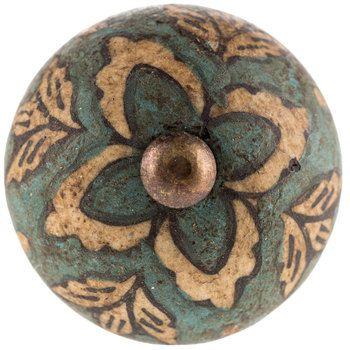 Antique Blue Floral Ceramic Knob