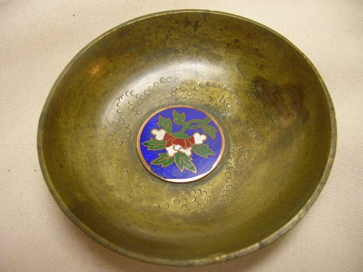 """Vintage Inlaid Enamel Flower Design Brass Dish 2 7/8"""""""