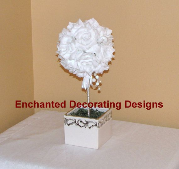 Pomander Ball Open rose topiary Wedding Flower by Decorations12, $20.00