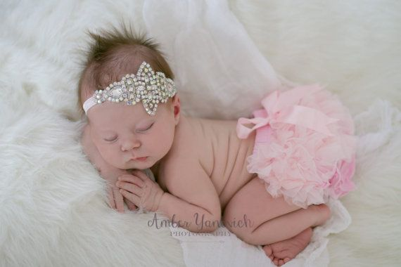 newborn crown headband and diaper cover by VintageStyleBabyShop
