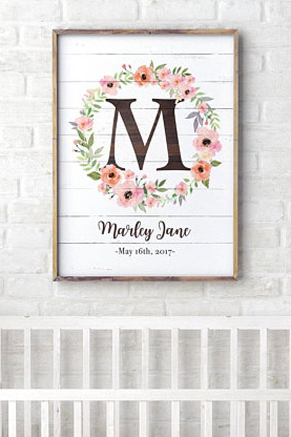 Personalized Nursery Wall Art Rustic Floral Nursery Decor Baby Girl Nursery Decor Boho Nurser Rustic Floral Nursery Rustic Girl Nursery Floral Nursery Decor