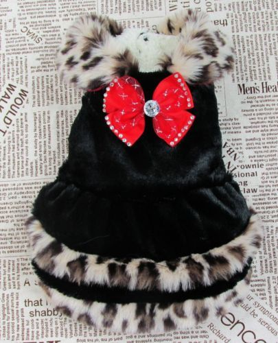 Good Soft Design Warm Small Girl Dog Clothes Leopard Red Bowtie Dress for Winter | eBay